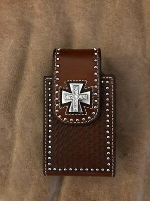 Nocona leather cell phone case with bling cross, magnet closure, belt clip