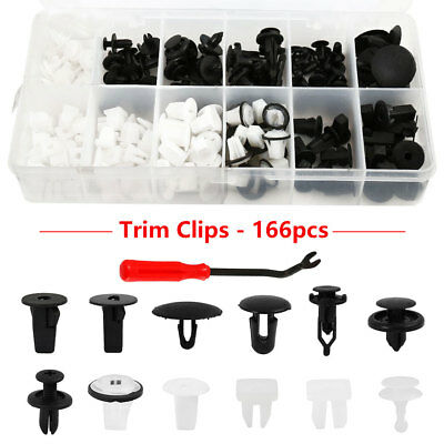 166x Car Door Trim Clips Bumper Rivets Screw Panel Interior Retainer Kit Set