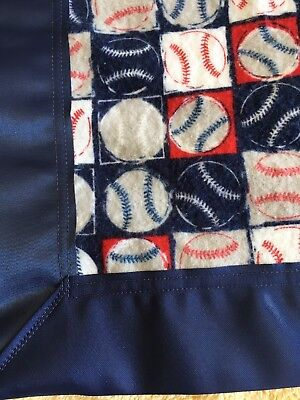 Baby Blanket New Baseball XL Flannel Receiving Swaddling Security Satin Trim