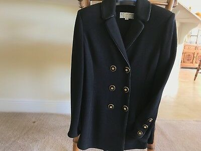 ST JOHN by Marie Gray Size 4 Black Blazer Jacket, Santana Knit, Logo Buttons