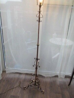 Telescopic Floor Lamp Oil Converted Brass & Copper Vintage Antique -Delivery