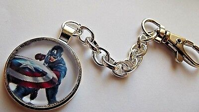 Avengers Captain America Silver Plated Photo  Key Ring Gift Box Birthday Party