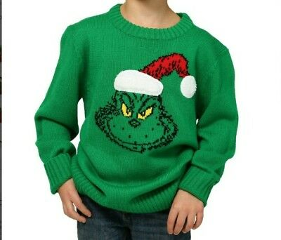 NWT Dr. Seuss The Grinch Green Ugly Christmas Sweater Kids Youth Size Small (S)