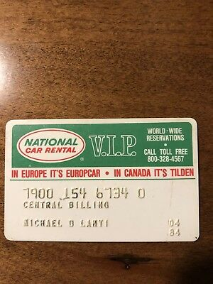 National Car Rental vintage credit charge cards 1984 Collectible