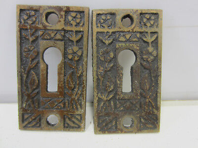 2 Antique Eastlake Brass Door Lock Escutcheons
