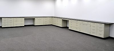 38' Base &  34' Wall Cabinets - Casework  w/ 2 Desks & Counter Tops