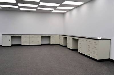 34 Ft Base Laboratory  Cabinets W/ Counter Tops and Four Desk