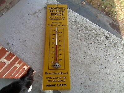 Vintage Brownies Atlantic Service Station Thermometer Sign Harrisburg Pa Oil Gas