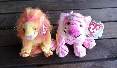 Lion & Tiger Beanie Babies Lot Wildcats Vintage Ty Bean Bag Plush Dolls