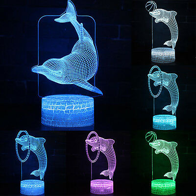 7 Color Change 3D LED Night Light Touch Switch Table Desk Dolphin Lamp Kids Gift