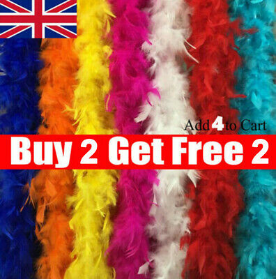 2M Feather Boa Strip Fluffy Craft Costume Fancy Dress Wedding Party Hen Night BL