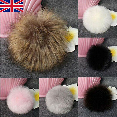 Cute Fox Fur Pompom Fur Pom Poms Ball with Press Button for Hats & Caps Decor BL