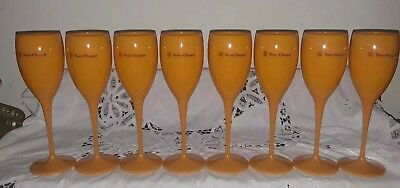 """Set Of (8) New Yellow Label 8"""" Acrylic Veuve Clicquot Champagne Glasses"""
