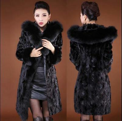 Womens Faux Fur Mid Long Thicken Hooded Coat Slim Fit Plus Size Jacket Black Hot