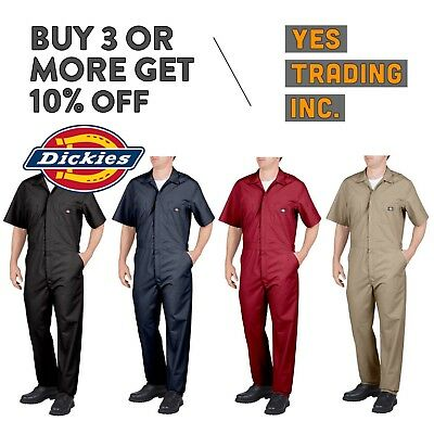 Dickies 33999 Mens Coveralls Short Sleeve Coverall Mechanics Suit Jump Suit Work