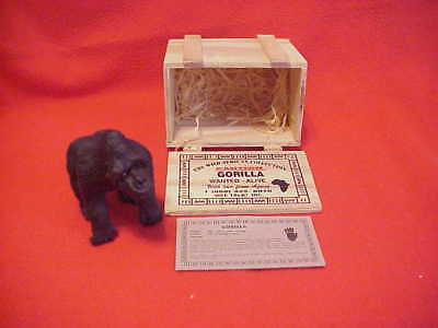 Vintage Endangered African Gorilla mini sculpture-resin stone-new in wood crate
