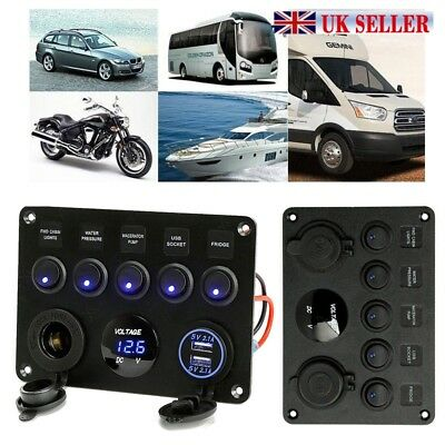 5 Gang ON-OFF Toggle Switch Panel 12V 24V Fit Marine Truck Camper Car Boat UK