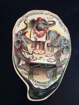 Trade card E. R. Mallory & Co.  Baltimore oysters Jumbo entertaining his friends