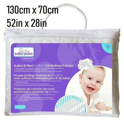 Baby Works Waterproof Mattress Protector Crib Breathable antibacterial bamboo