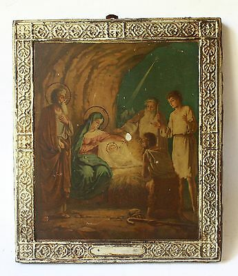 Antique 19th Russian Metal Chromolithography Icon the Nativity of Christ