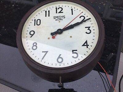 Vintage 1930s Smiths Sectric Wall Clock Station Waiting Room Industrial 13 1/2""