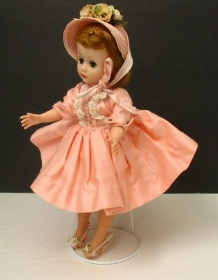 "Vintage 1950s PEACH DRESS w/Rhinestones & HAT for 9"" Mme Alexander CISSETTE Doll"