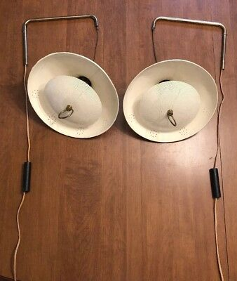ATOMIC Mid Century Modern SAUCER Wall Hanging Weighted Lamps Light PAIR Vintage