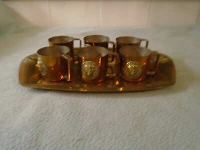 Antique  Set Of Mexican Aztec Copper Cups With Copper Tray