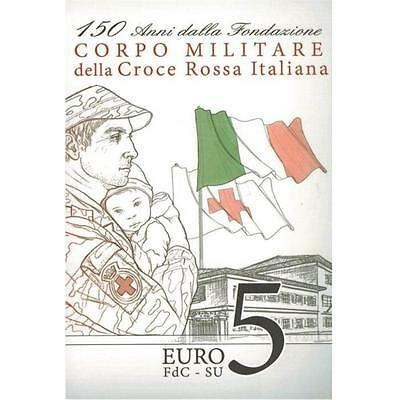 2016 Italy € 5 Euro Silver BU Coin Red Cross Military Corps 150 Years in Folder