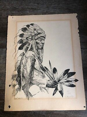 1981 Drawing Of Indian By Brett Stokes 235/350 Signed