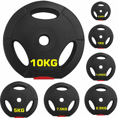 "Vinyl 1"" Tri Grip Weight Plates for Dumbbells Weights Lifting Bars TriGrip Plate"