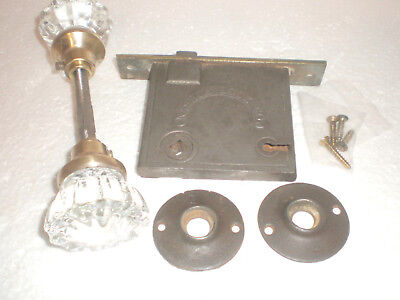 Antique Set 12~Point Glass/crystal Door Knobs~Lockset~Strike/knob Plates~Hardwar