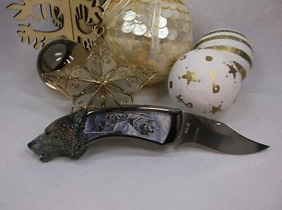 Franklin Mint Wolf Head Knife - Very Heavy - 8 inches - Pre-Loved