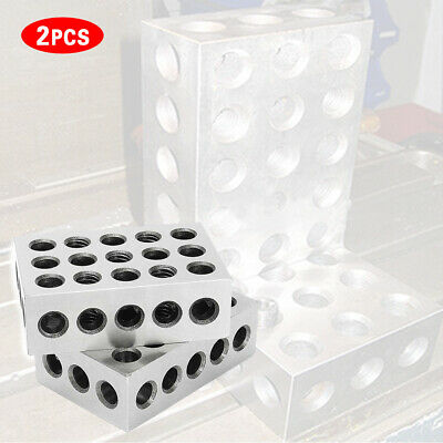 "2pcs 1-2-3 Block Set Matched Mill Machinist  23 Holes 0.0001"" Ultra Precision"