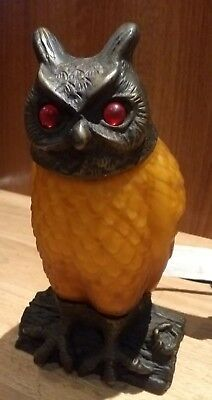 Unusual Metal And Glass Bodied Owl Lamp