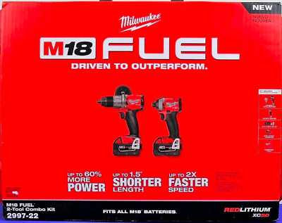 NEW Milwaukee 2997-22 M18 1/2 in. Hammer Drill and 1/4 in Hex Impact Driver Kit
