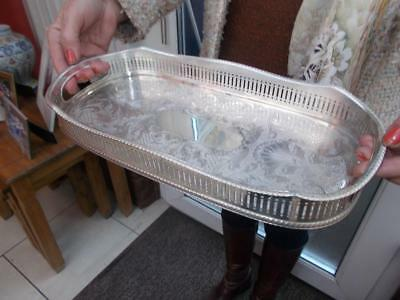 Pretty Silver Plate Tray Champagne / Decanters Fret Cut Gallery Lovely Condition