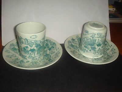 Set of 2 Limited Edition Danish Nymolle Hoyrup Art Faience #4006 Cup & Saucer