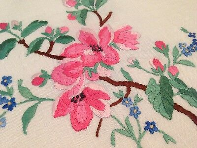 VINTAGE HAND EMBROIDERED LINEN SET ~ TRAY CLOTH, TEA And EGG COSY COVER