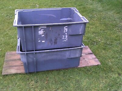 PLASTIC STORAGE BOX x2 INDUSTRIAL, HEAVY DUTY, STACKABLE. 630 x 430 x 280mm GREY