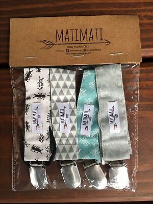 NIP Set Of 4 Matimati Baby Pacifier Clips, Gray, White, Blue
