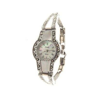 Xanadu Marcasite Mother Of Pearl Link Quartz Watch 6.5""