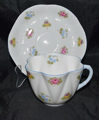 Vintage Shelley Rose Pansy Forget Me Not Dainty Tea Cup & Saucer