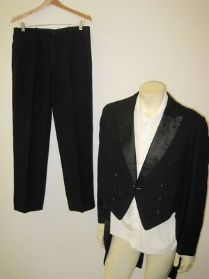 Vintage 1930s Siegel Bros. Black Wool Tuxedo Suit with Tails