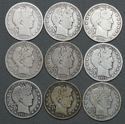 1900 - 1912 Barber Silver Half Dollars 50c, Different Dates, (9) Coins