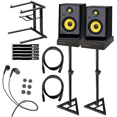 "KRK RP5G3 ROKIT 5 G3 5"" Studio Monitor Speaker Pair+Stands+Cables+Laptop Stand"
