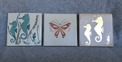 "Vintage Pacific Tile 4.25"" sample tiles Lot of 3 MCM EX!!! Seahorses Butterflies"