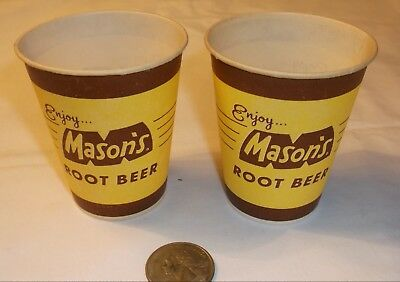 Vintage MASONS ROOT BEER  2 sample cups 4 oz size