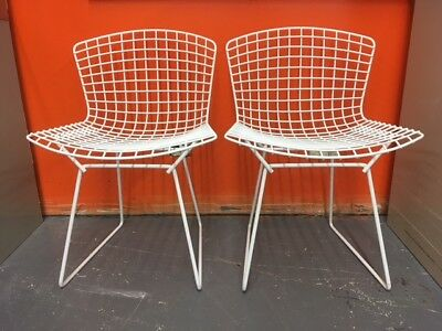 2 Knoll Bertoia White Wire Side Dining Chairs Mid-Century Modern