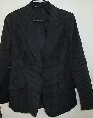 Ladies Pinstripe Blazer Jacket Lined Long Sleeve Size S Great For Work Formal